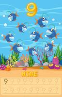 Fish math-werkblad tellen