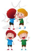Twee jongens vechten en huilen vector