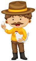 Boer houdt kip en ei