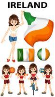 Vlag van Ierland en vrouw atleet vector