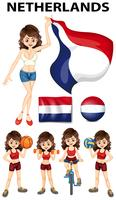 Nederlandse vrouw die sporten doet vector