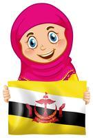 Een moslimmeisje met Brunei-vlag vector
