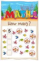 Wiskunde tellen vis werkblad