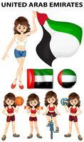 Vlag en atleten uit de Verenigde Arabische Emiraten vector