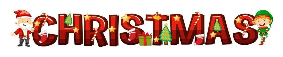 Lettertype ontwerp voor woord Kerstmis vector