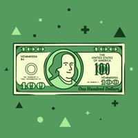 Cartoon Hand getrokken 100 Dollar Bill illustratie vector