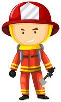 Brandweerman in veiligheidsuniform vector