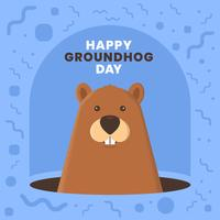 Ground Hog Funny Cute Design Card Template-uitnodigingen vector