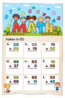 Math-werkbladontwerp voor toevoeging aan 100 vector