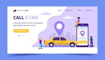 Bel een taxi-bestemmingspagina. Conceptenillustratie met taxiauto een smartphone, kleine mensenkarakters.