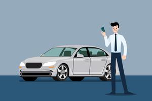 Gelukkige zakenman, verkoperstribune en holdingscreditcard voor luxeauto die die in grote toonzaal parkeren.