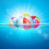 Vector zomer illustratie met kleurrijke strandbal op onderwater blauwe oceaan achtergrond. Realistische zomervakantie vakantie ontwerp