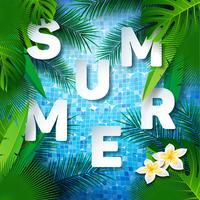 Water in de betegelde zwembad achtergrond ontwerpsjabloon verstand tropische planten en palmbladeren. Zomer illustratie voor banner