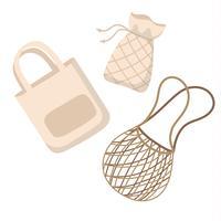 Katoenen opnieuw te gebruiken zakken - de vectorillustratie van het nul afvalconcept in beeldverhaalstijl, vector