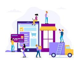 Winkel online - concept illustratie met een tablet met een website, een bezorgauto, creditcard, kleine mensen karakters. vector