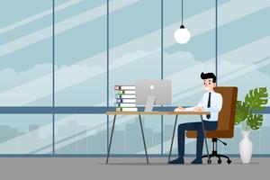 Gelukkige zakenman die aan een personal computer werkt, zittend op een bruine leerstoel achter het bureau in het bureau om zijn zaken succesvol te maken en meer winst te krijgen. Vector illustratie ontwerp.