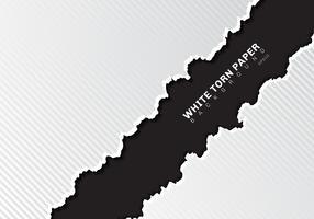 Witte gescheurde document randen met schaduw en patroon diagonale lijnentextuur op zwarte achtergrond met exemplaarruimte. vector