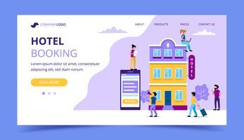 Hotelboeking de sjabloon van de bestemmingspagina - illustratie met kleine mensen die diverse taken doen. reservering, online boeking