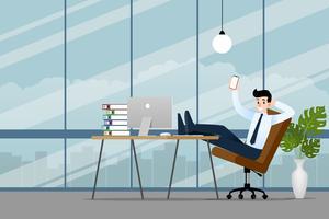 Gelukkige zakenman die op het kantoor met zijn smartphone, celtelefoon werkt om zijn zaken succesvol te maken en meer winst te krijgen. Vector illustratie ontwerp.