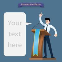 Het voorstellen van de zakenman, die een toespraak geeft bij het houten podium met twee microfoons.