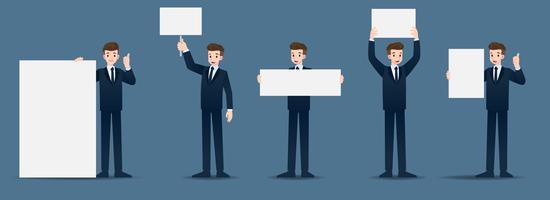 Set van zakenman in 5 verschillende gebaren. Mensen in bedrijfskarakter zetten veel acties. Vector illustratie ontwerp.