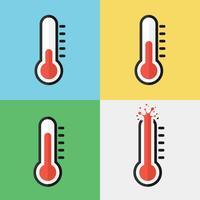Gebroken thermometer (oververhitting) (plat ontwerp) vector