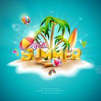 Vector Hallo zomervakantie illustratie met 3D-typografie brief op oceaan blauwe achtergrond. Tropische planten, bloemen, strandbal, luchtballon, surfplank en zonnescherm voor banner, flyer