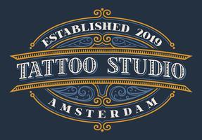 Vintage belettering voor tattoo studio