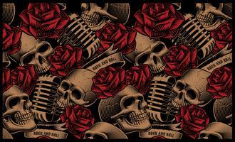 Naadloos patroon met schedels, microfoons en rozen