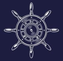 Vectorillustratie van het wiel van een schip op de donkere achtergrond