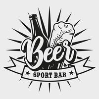 Embleem voor bierbar op witte achtergrond vector