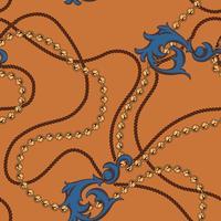 Naadloos barok patroon van kettingen en elementen