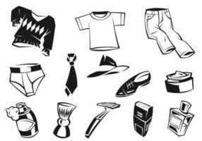 Funky Mannelijke Kleding Vectoren en Accessoires Pack