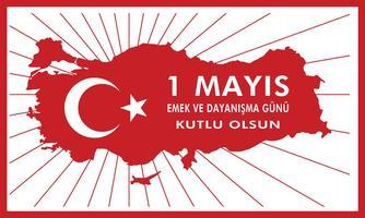 1 mag dag na dag werken. De Turkse feestdag op 1 mei is een dag van werk en solidariteit. Vertaling uit het Turks: een dag werken en solidariteit. vector