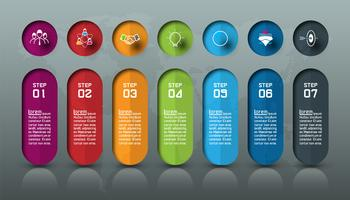Zeven kleurrijke bars met zakelijke pictogram infographics.
