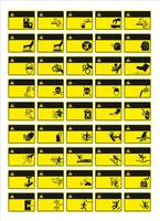 set van verplichte teken, gevaarteken, verboden teken, arbeidsveiligheid en gezondheid tekenen, waarschuwingsbord, brand noodsituatie teken. voor het afdrukken van stickers, posters en andere materialen. gemakkelijk aan te passen. vector.