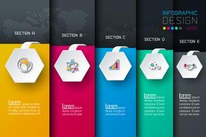 Bedrijfs hexagon netto etikettenvorm infographic met donkere achtergrond.