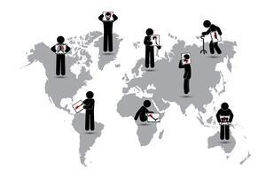 Stickman hold monitorscherm: toon skelet, wereldkaart (Worldwide Healthcare-concept) (Longtuberculose, artritis, cervicale spondylose, lumbale spondylolisthesis, scoliose, beroerte) vector