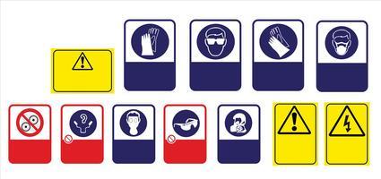 set van verplichte teken, gevaarteken, verboden teken, arbeidsveiligheid en gezondheid tekenen, waarschuwingsbord, brand noodsituatie teken. voor het afdrukken van stickers, posters en andere materialen. gemakkelijk aan te passen. vector. vector