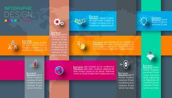 Donkere labels met zakelijke pictogram infographics.