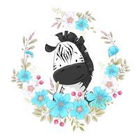 Ansichtkaart poster schattige kleine zebra in een krans van bloemen. Handtekening. Vector