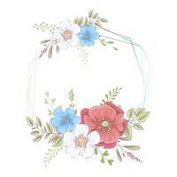 Waterverfsjabloon voor een verjaardag huwelijksviering met bloemen en ruimte voor tekst. Handtekening. Vector illustratie