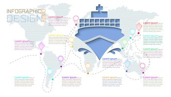 Infographic op wereldkaartencommunicatie. vector