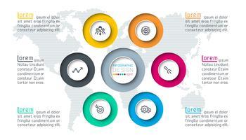 Zes cirkels met zakelijke pictogram infographics.