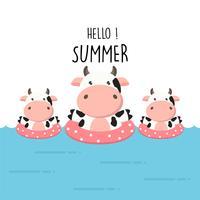 Hallo zomer schattige koe cartoon.