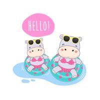 Hallo zomer schattige Hippo waren bikini en zwemmen ring cartoon.