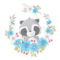 Ansichtkaart poster schattige kleine wasbeer in een krans van bloemen. Handtekening. Vector