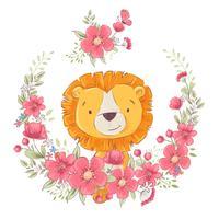 Ansichtkaart poster schattige kleine leon in een krans van bloemen. Handtekening. Vector