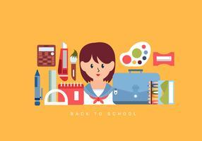 Terug naar school Essentials Vector Illustratie