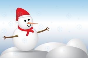 vrolijk kerst sneeuwpop vector